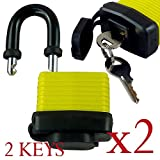 Pack of 2 - Heavy Duty Waterproof Padlock - Ideal for Home, Garden Shed, Outdoor