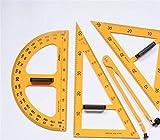 MIMOO Accessoires Pratiques de Papeterie de Bureau 4 Pcs Règle Set Tableau Noir magnétique et Tableau Blanc matériel d'enseignement - Jaune