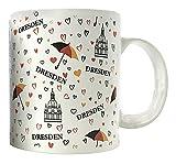 Tasse Dresden mit Herzen Schirm Deutschland Kaffeetasse Teetasse Krug mit Henkel Dresden-Souvenir Kaffeesachsen Saxony VisitDresden Dresden-Andenken