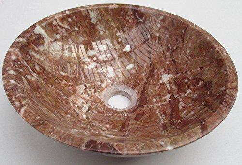 Bol rond rouge en marbre pierre salle de bain lavabo 300 mm Diamètre (b0068)
