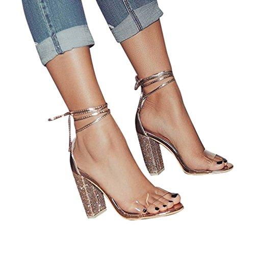 Junkai sandali con tacco alto con strass sexy da donna, sandali con tacco in cristallo trasparente