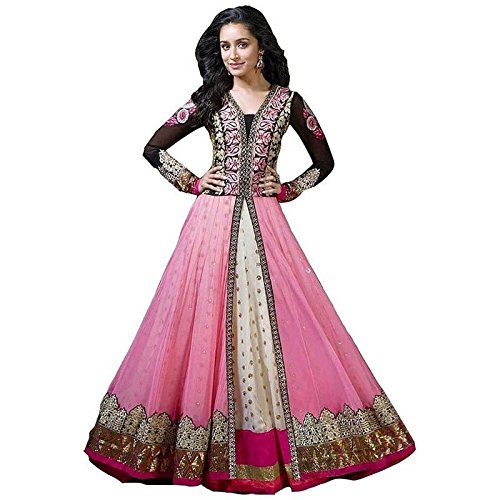 White World Women\'s Pink Net Embroidery Anarkali Dress Material