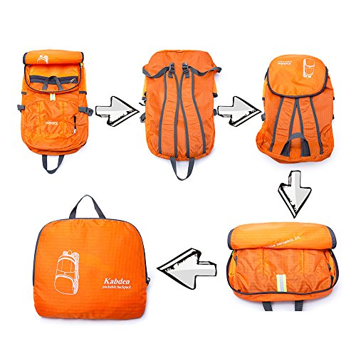 Bonamana Faltbarer Beutel-verpackbarer Rucksack-wasserdichte große Kapazität-leichte haltbare Spielraum-Beutel, der Rucksack-Tagesrucksack wandert Orange