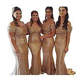 Sarahbridal Damen Lang elegant für Hochzeit Pailletten Schulterfrei Brautjungfernkleider Abendkleider Ballkleider S120781 Golden EU40