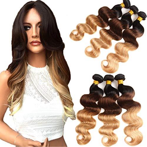 Elees Hair, extension effetto shatush di due/tre tonalità, con veri capelli brasiliani, ondulati, a lunghezza mista, di alta qualità, grado 7A
