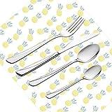 Set di posate da 30 pezzi, vasellame esotico Set di posate in acciaio inox da posate per 6 persone tra cui coltello, forchette, cucchiai, cucchiaini da tè e tovaglietta, ananas con motivo di rombo