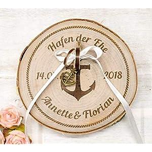 Ringkissen aus Holz personalisiert zur Hochzeit, Maritimes Ringträgerkissen mit Damen und Datum
