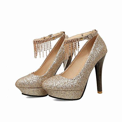 Mee Shoes Damen high heels ankle strap Quaste Pumps Gold