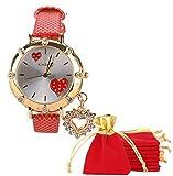 eBijoux 1776 - [2 CUORI ROSSO] Orologio Donna da Polso con Ciondolo a Cuore e Brillantini - Con cinturino regolabile a 6 fori - Quarzo - In Sacchetto vellutato Rosso e Oro - Regalo perfetto