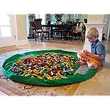 Stoga almacenaje plegable bolso del juguete creativo de gran tama?o impermeable de la estera de picnic portable Lego Organizador Kid tapete de juego grande de picnic camping colch¨®n de hombro Bag-Verde