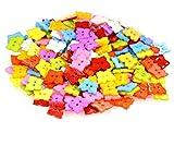 50 Kinderknöpfe Schmetterling 15x13 mm, 2-Loch-Knopf Motivknopf Tiere, Farbmix