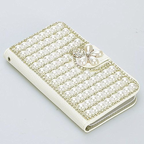Housse iPhone X / iPhone 10 Perle coque 2 en 1 Case PU Cuir Coque, Vandot Bling Diamant Design 3D Pearl Couverture Élégant Pochette Case Cover de Protection Shock Absorption Bumper avec Support et Por Diamant 27