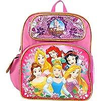 "Ruz Small Backpack - Disney - Princess - Belle/Aurora/Rapunzel Gold Shiny 12"" 002251"