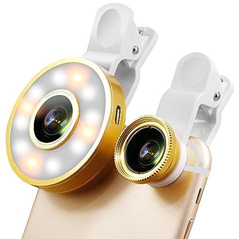 Universal Clip-On selfie Lumière, Senhai LED Dimmable + 0.65X + 10X Lens + 185 Kit Degree Fisheye Remplissage lumière Grand Angle Macro pour iPhone 6S plus Samsung S7