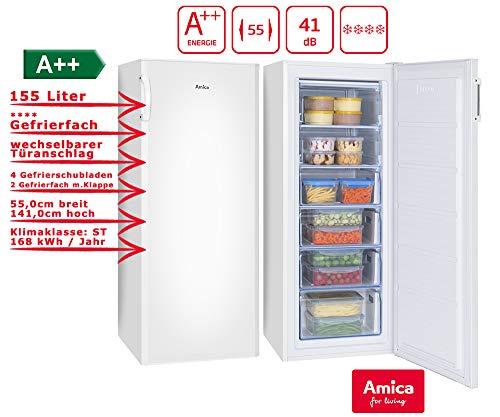 Amica GS 324 100 W Gefrierschrank Weiß Tiefkühltruhe A++ 155 Liter | 4 Schubalden und 2 Fächer | 141 cm hoch 55 cm breit
