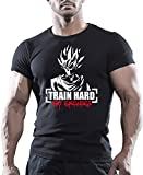 Goku Train Hard Nr. Abgabe von Entschuldigungen Motivation Bodybuilding-T-shirt