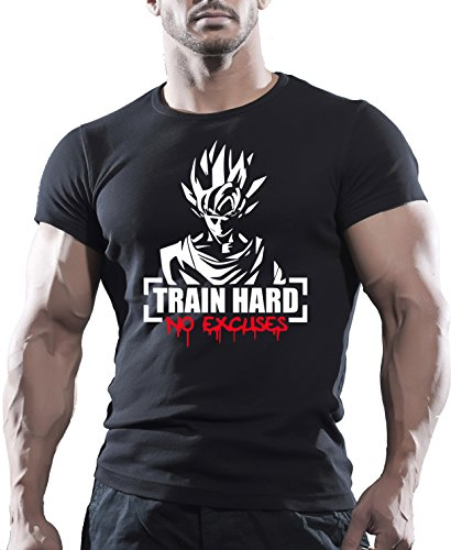 "Camiseta Arubas-uk, diseño Goku, con impresión motivadora ""Train hard no excuses"" Negro negro Large"