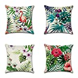 Heth Linen Decorative Cushion Cover Throw Pillow Case for Bedroom Sofa Office With Invisible Zipper Set of 4, 45x45cm (18'x18') (Tropical Flower)