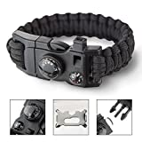6 In 1 Outdoors Survival Paracord Bracelet With Compass Fire Starter And Whistle Emergency Survival Kit