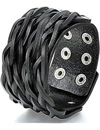 Flongo Pulsera ancha brazalete grande, Hombre pulsera con rechaches rock n roll, Pulsera trenzada, 23cm ajustable negro marrón, Diseño original sencillo
