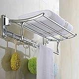 SAEJJ-Colgante de acero inoxidable de hardware hardware baño toallero Estante plegable 60cm * 25.5cm colgador de toalla