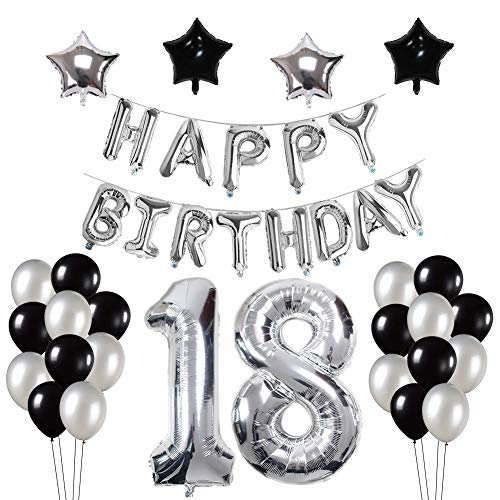 Yoart 18. Geburtstag Dekorationen, Silber und Schwarz für Junge Mann mit Happy Birthday Banner Star Folie Ballons Latex Ballons Dekoration (Ballons Happy Birthday Latex)
