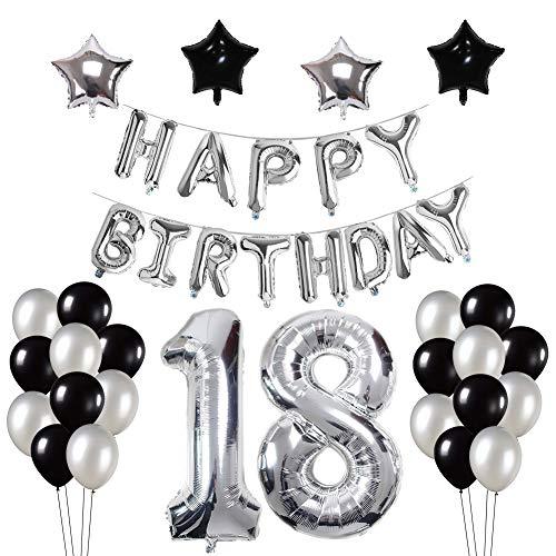 Yoart 18. Geburtstag Dekorationen, Silber und Schwarz für Junge Mann mit Happy Birthday Banner Star Folie Ballons Latex Ballons Dekoration