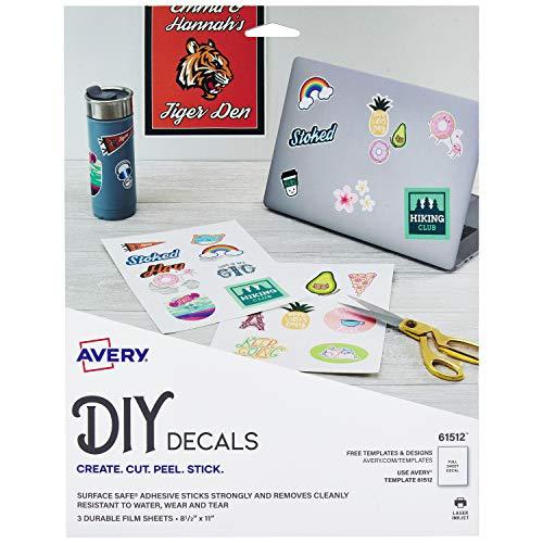 Avery 61512 Aufkleber mit Oberfläche sicher entfernbar, wasser- und reißfest, 21,6 x 27,9 cm, 3 Etiketten