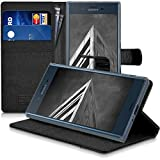 kwmobile Hülle für Sony Xperia XZ / XZs - Wallet Case Handy Schutzhülle Kunstleder - Handycover Klapphülle mit Kartenfach und Ständer Anthrazit Schwarz -