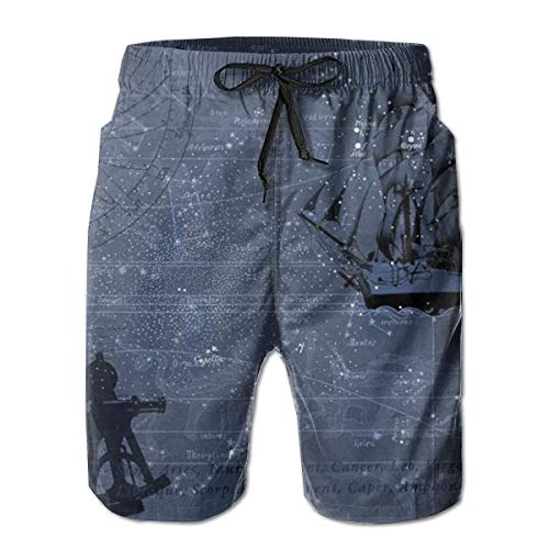 WITHY Spray Fire Wolf Men's Beach Shorts Swimming Trunks Quick Dry Board Shorts with Pockets