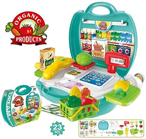 Supermercato Registratore di cassa Calcolatrice Giocattoli, bambini Istruzione precoce Fai finta di giocare a giocattoli, negozio di alimentari Imposta scatola di cassiere di frutta e verdura, 23