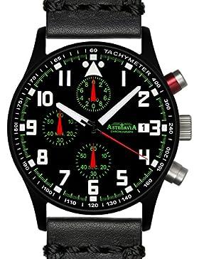 Astroavia Herren-Armbanduhr Chronograph Quarz weiches Leder schwarz N93BL4