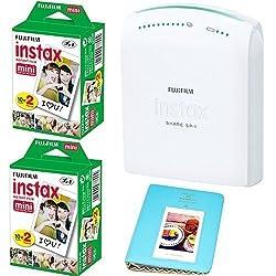 Fujifilm instax SHARE Smartphone Printer SP-1 With 2x Fujifilm Instax Mini Twin Pack Instant Film (= 40 Shoots) +With Photo Album 64 Pockets Blue Value Set Bundle