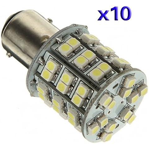 SODIAL(R) 10X T25 BAY15D 1157 Pure White 60 SMD LED de la cola del freno de la parada Bombilla de luz de la lampara