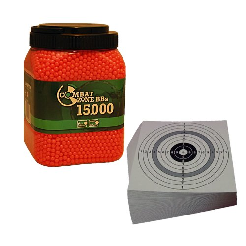 SET: 15000 Umarex Combat Zone Softair BB 0,12 Gramm ROT (2.5673) + 10 ShoXx.® shoot-club Zielscheiben 14x14 cm