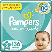 Pampers Baby-Dry, Size 3, Midi, 6-10 kg, Giant Box, 136 Diapers