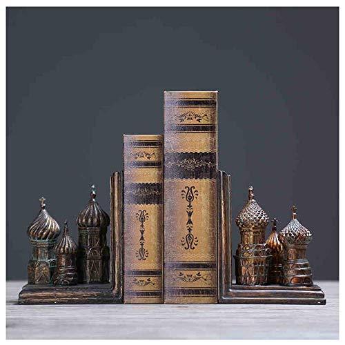 ZXCVB Handcrafting Buchstützen, European Church Castle Gothic StyleEnvironment Friendly Resin Antique Exquisite Buchstützen, Buchständer Set, Dekoration Ornamente Geschenk -