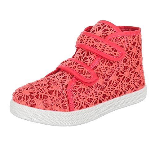 Kinder Schuhe, AC-27, FREIZEITSCHUHE SPITZEN VERZIERTE SNEAKERS Coral