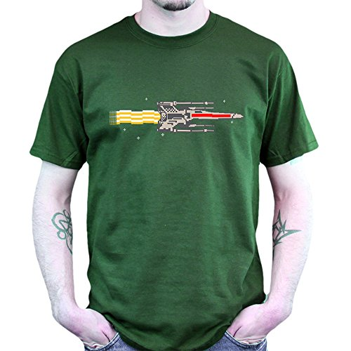Nyan X-Wing 8 Bit Death Star of Wars Episode VII 7 T-shirt Grün