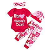 JERFER Infant Baby Valentine's Day Letter Print Romper+Pants+Hat+Headbands Outfits Set