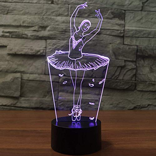 Tänzer Make-up (GuoYo Buntes Visions-Licht der Noten-LED, umgebende Tischlampen-Kindernachtlicht-Tischplattengeschenk-Dekoration, USB u. Batterie-gutes Ballerina-Bild-Acrylbrett, Tänzer)