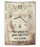 LAUTLOSE Designer Wanduhr mit Spruch Man nehme ein gutes Glas Wein und schütte es in den Koch Vintage beige Deko Schild Bild 41 x 28cm
