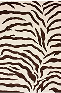 Zebra Print Area Rugs Animal Skin 6ft Round Brown Ivory Amazon Co Uk Kitchen Home