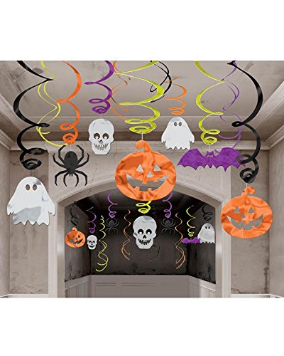 30-teiliges Swirl-Deko-Set * HALLOWEEN * für Mottoparty und Halloween // Hanging Cutouts Swirl decoration Deko Dekoration Set Grusel Oktober Geist Fledermaus Fledermäuse Kürbis Ghost Pumpkin Bat Spinne Spider Value (Geister Swirl Dekorationen Spinnen &)