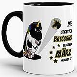Einhorn-Tasse zum Geburtstag 'Die coolsten Batcorns werden im März geboren' Innen & Henkel Schwarz / Unicorn / Einhorn / Batcorn / Geschenk / Kaffeetasse / Mug / Cup / Beste Qualität - 25 Jahre Erfahrung