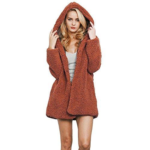 Sonnena donne felpe lungo parka invernale caldo cappotto top Overcoat Outwear XXXL Brown Brown