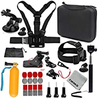 Gurmoir Travel Outdoor SportsAction Camera Accessories Kit for GoPro Hero 7 Black/6/5/4 Session5/4/ SJ4000/5000/6000/AKASO/APEMAN/DBPOWER/ and More Action Cameras(GT06)