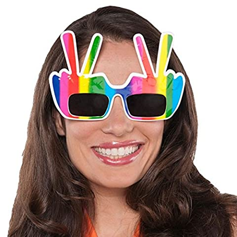 Amscan Adult Groovy 60's Party Hippie Hand Peace Sign Glasses, Multicolor