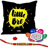 Best Bros Bracelets - Indigifts Rakhi Gifts-Lilttle Bro Quote Printed Black Satin Review