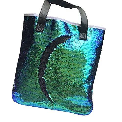 BESTOYARD Pailletten Umhängetasche Einkaufstasche Zipper Tote Handtasche für Damen Mädchen (grün und schwarz) (Über Tote Handtasche)